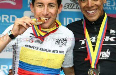 Sergio Luis Henao y Jarlinson Pantano,en el podio de Nacional de ruta 2017