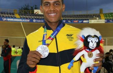 Kevin Quintero, medalla de plata en prueba del kilómetro de los Centroamericanos (Foto Juegos Centroamericanos)