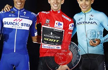 López cerró una genial actuación en la Vuelta a España 2018 en el podio final junto al campeón Simon Yates y el español Enric Mas