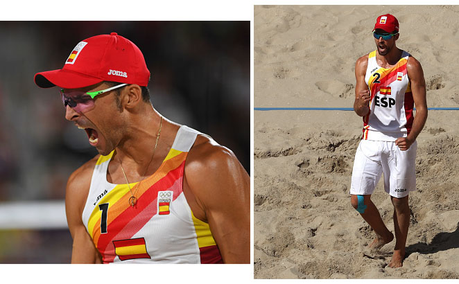 RIO DE JANEIRO, BRAZIL - AUGUST 06: Pablo Herrera Allepuz of Spain reacts during the Men's Beach Volleyball preliminary round Pool F match against Robin Seidl (1) and Alexander Huber of Austria on Day 1 of the Rio 2016 Olympic Games at the Beach Volleyball Arena on August 6, 2016 in Rio de Janeiro, Brazil. (Photo by Shaun Botterill/Getty Images)