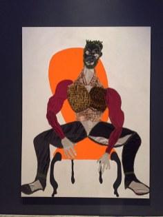 Mane, 2016, Tschabala Self - Pintura e colagem onde o artista reconfigura a postura familiar do retrato, complexificando a identidade negra e lembrando que os prazeres diários também são atos de resistência.