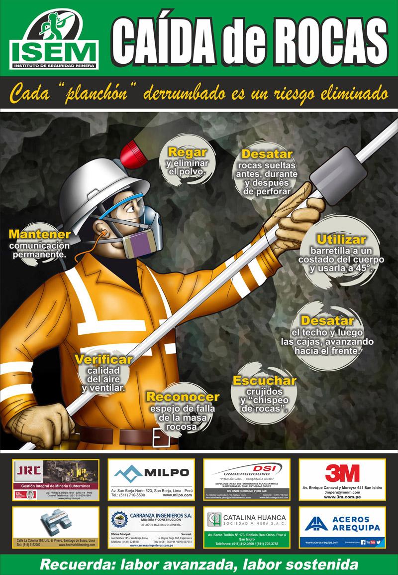 Afiche sobre caída de rocas en minería subterránea