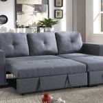Blue Grey Faux Leather Convertible Sectional With Compartment Revitalized Furnishings