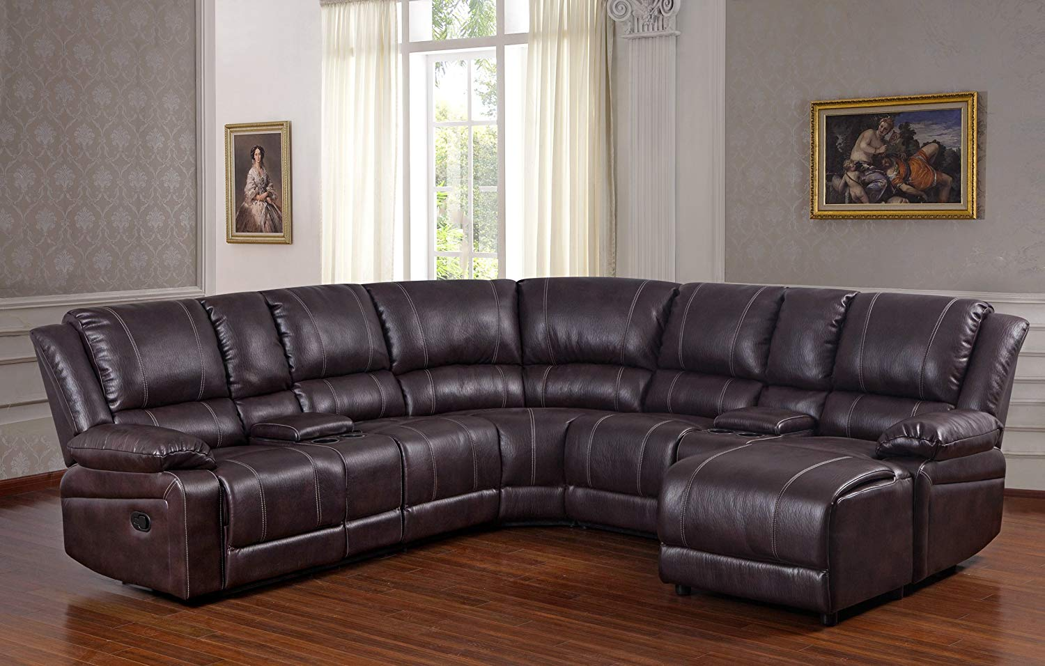 bubble leather brown sectional sofa with recliner chaise console w cup holders