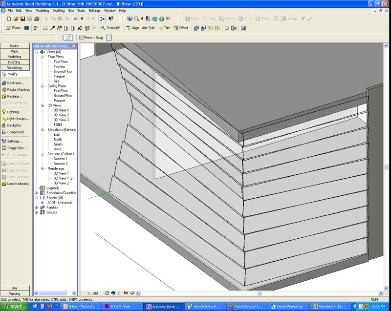 how to draw sloped curtain wall in revit