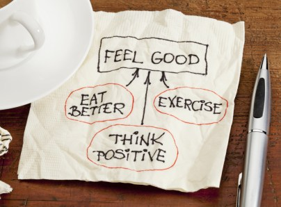 think positive , exercise, eat better - concept of feeling good