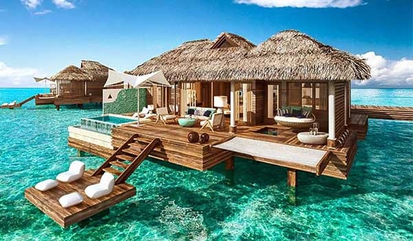 overwater bungalow in Fiji