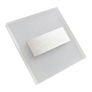 Schodové svietidlo štvorcové LUMI, teplá biela, brúsené striebro