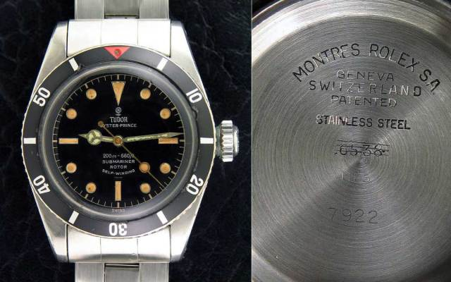 A Tudor 7922 'Big Crown' created by using a Rolex 6538 case fitted with Tudor dial and calibre 390 movement as a 'prototype' for the later 7924 for use by the MN