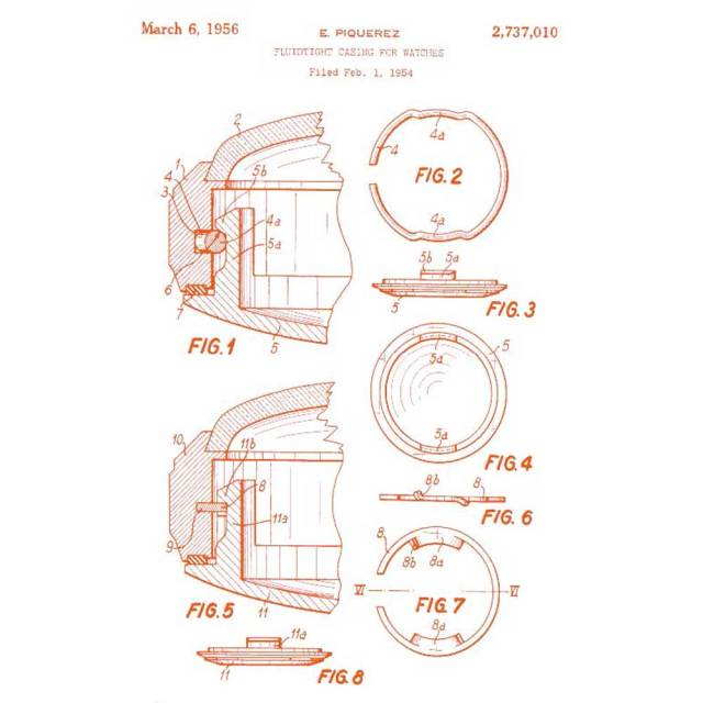 Dated 1 February 1954 , a patent for what defines a super compressor case, manufactured by Ervin Piquerez S.A