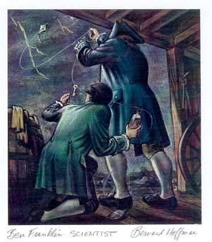 Image result for benjamin franklin getting electrocuted