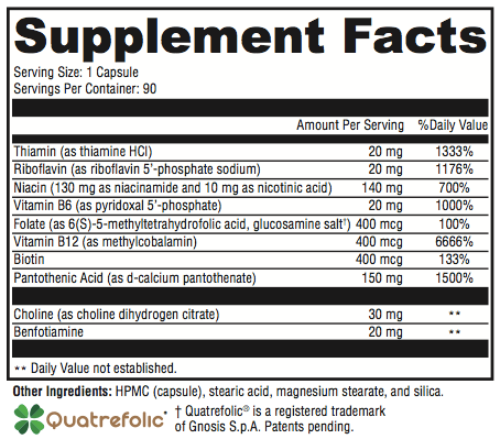 Revolution B Supplement Facts