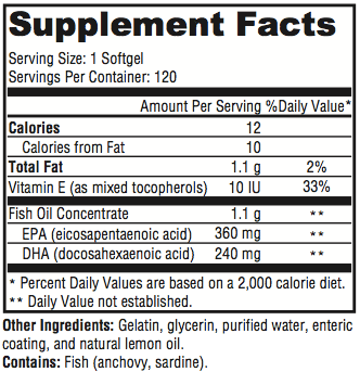 Omega Health Supplement Facts Omega-3 Fish Oil