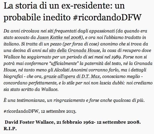 La storia di un ex-residente un iedito di David Foster Wallace