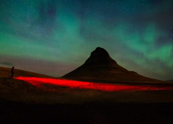Aurora borealis, northern lights at Kirkjufell , Iceland