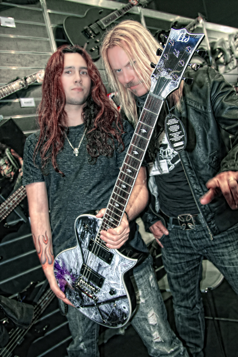 Gus G & Patric Ullaeus with the RockART guitar | Ltd GUS-600 EC