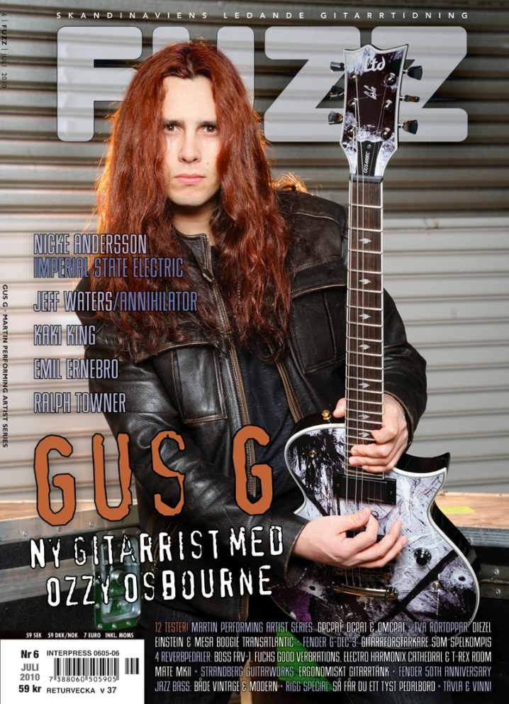 Gus G and The RockART guitar on the cover of FUZZ magazine