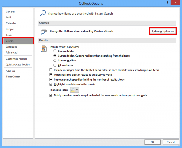 solved - outlook 2016 search issue