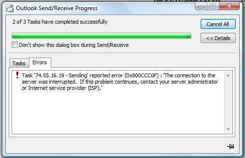 microsoft outlook error 0x800ccc0f fix now