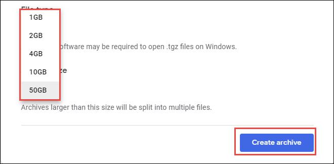 Create Archive Option
