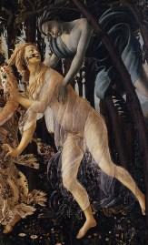 Zéphyr, dieu du vent, poursuit Chloris. Il symbolise la passion débridée et sauvage.