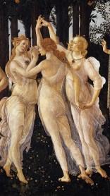 Les trois grâces représentent les trois visages de l'amour: Pulchritudo (Beauté), Voluptas (Plaisir/volupté), Castitas, (Chasteté).