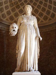 Melpomène est la muse de la tragédie, inspiratrice des artistes. Elle représente la tragédie de l'existence.