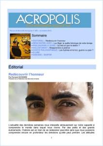 Première de couverture de la Revue Acropolis n°235