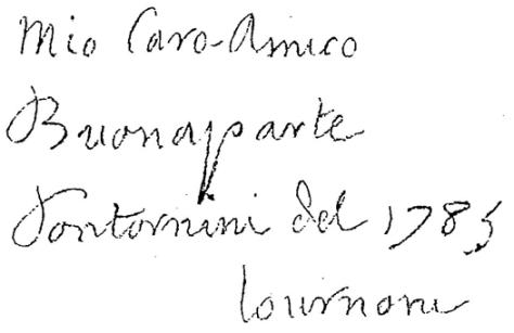 Figure 3. Détail du portrait de Buonaparte. La dédicace signée Pontornini.