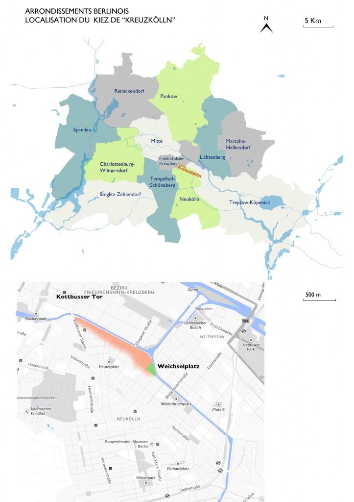 Arrondissements berlinois, localisation du Kiez de Kreuzkölln (Hugo Dusapin, Lucie Mesuret 2013).