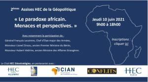 Le paradoxe africain. Menaces et perspectives. Assises HEC géostratégie en partenariat avec Conflits