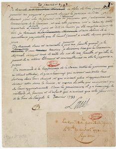 Requête manuscrite de Louis XVI en date du 20 janvier 1793