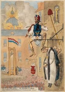 Caricature illustrant la période de la déchristianisation. « La liberté au pinacle »
