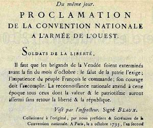 Proclamation faite le 2 octobre 1793 suite à l'adoption du décret du 1er octobre précédent