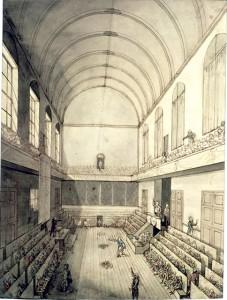Convention nationale installée dans la Salle du Manège du Palais des Tuileries jusqu'au 9 mai 1793 avant de siéger au rez-de-chaussée dans la Salle des Machines