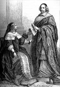 Anne d'Autriche (1601-1666) et le Cardinal Jules Mazarin (1602-1661) chargés de la régence à la mort de Louis XIII