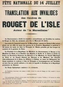 Affiche annonçant le transfert des cendres de Rouget de Lisle aux Invalides
