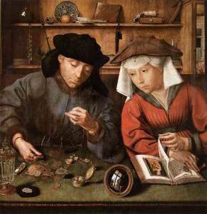 """""""Le prêteur et sa femme"""" (1514) par Quentin Metsys – Musée du Louvre"""