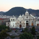 Quetzaltenango's central park and cathedral by Harry Díaz
