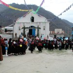 Gathering in front of the church, Santa Cruz