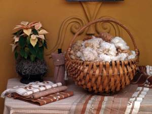 above: Dyed cotton fabrics, San Juan La Laguna below: Cotton display at Algodones Mayas  Guatemala (sofía monzón)