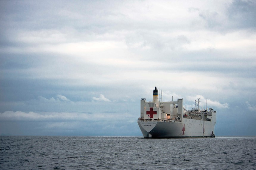 Comfort Ship: USNS Comfort anchors off the coast of Puerto Barrios. (U.S. Navy photo by mass communication specialist 3rd class Andrew Schneider).