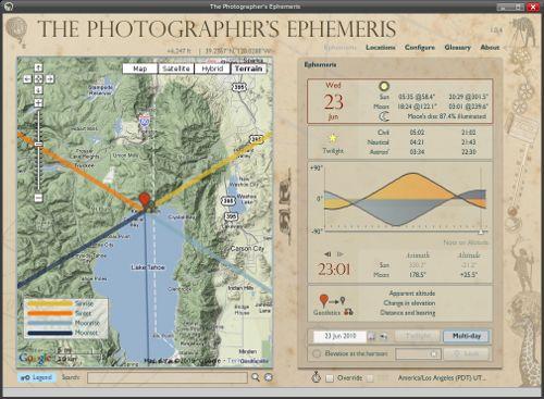 "Interface de ""The photographer Ehemeris"""