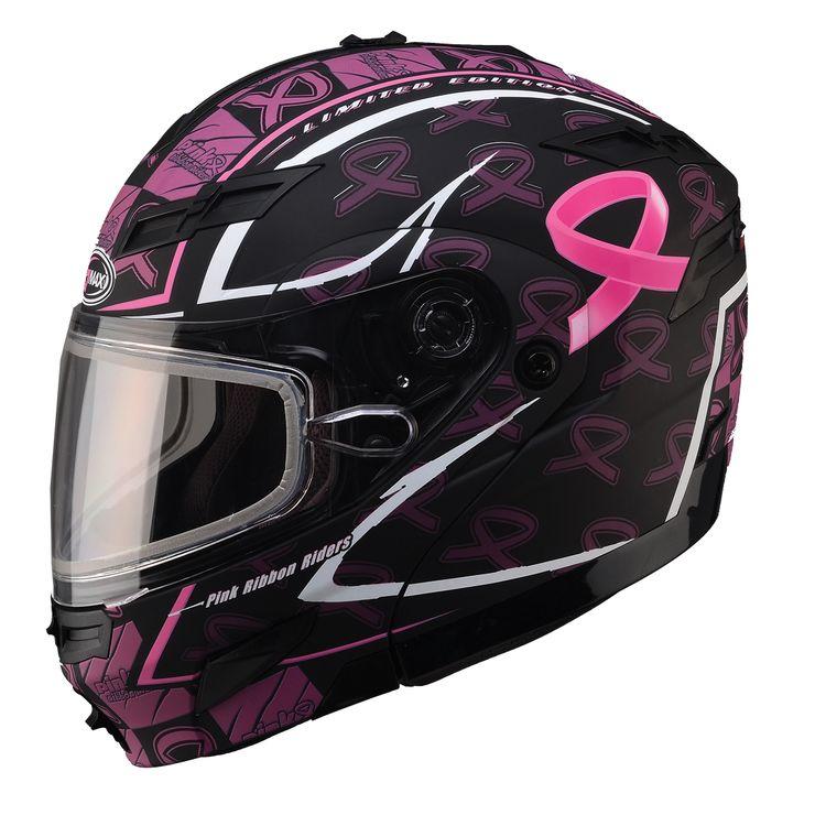 Pink Ribbon Snowmobile Helmet