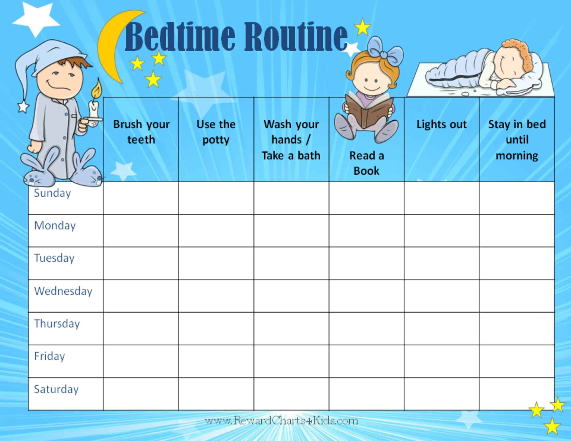 Free Printable Bedtime Routine Chart