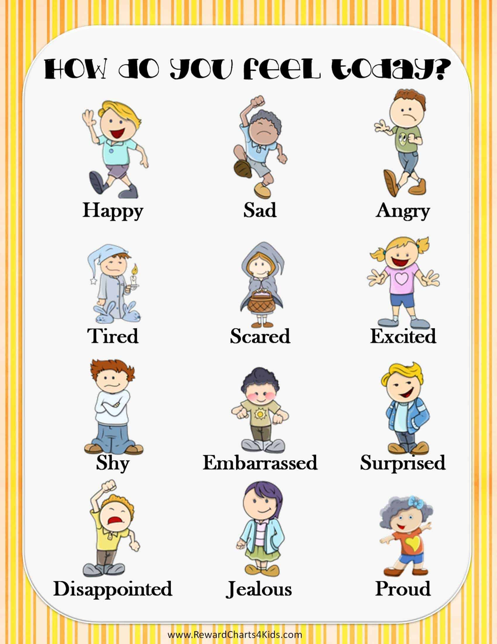 List Of Emotions And Feelings Printable