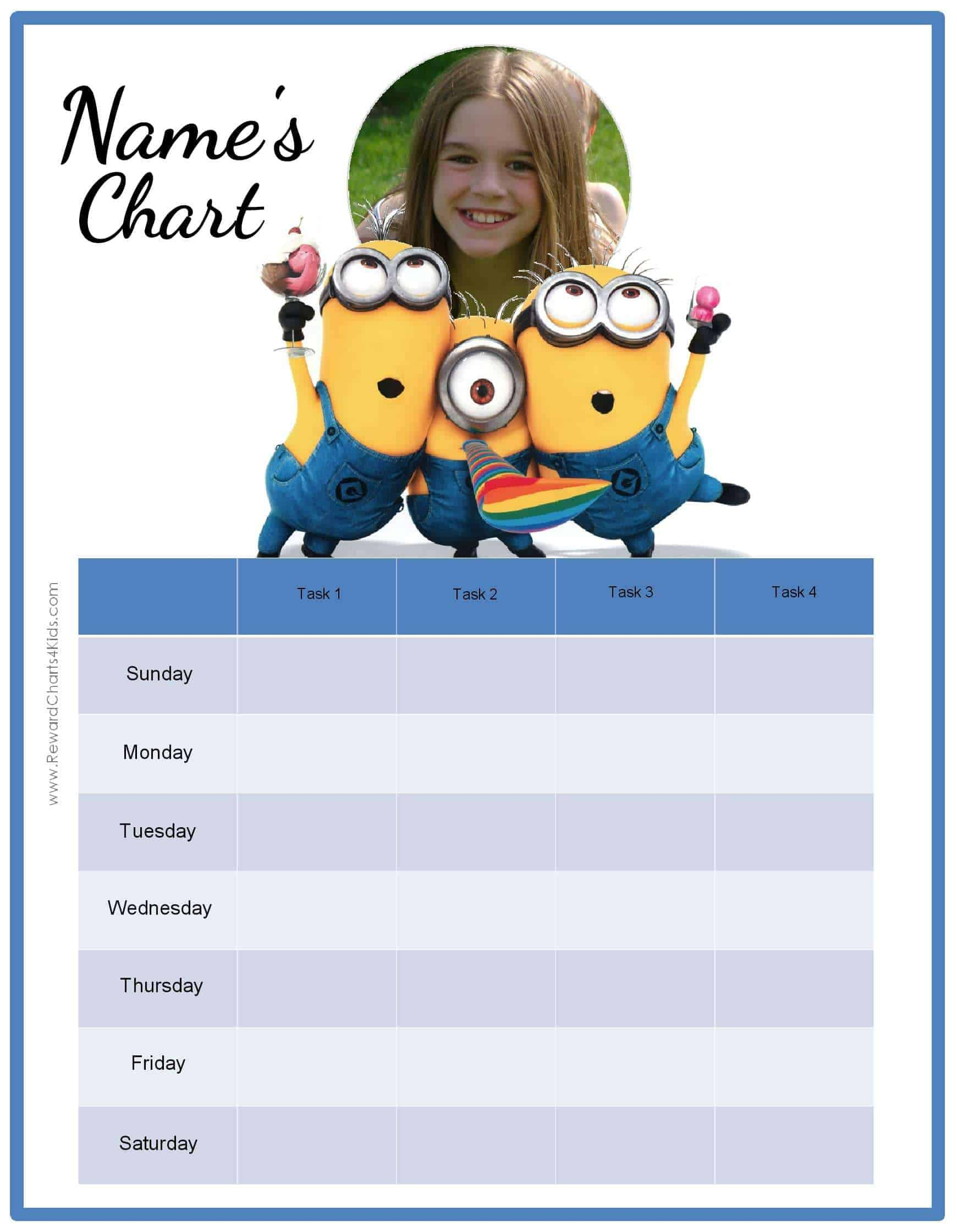 Free Behavior Charts With The Minions Add Your Own Photo Text