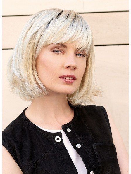 Chin Lenght Blonde Bob Wigs With Full Bangs