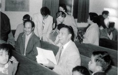 My grandfather, Esteban de los Reyes, at a church meeting in Stockton, CA