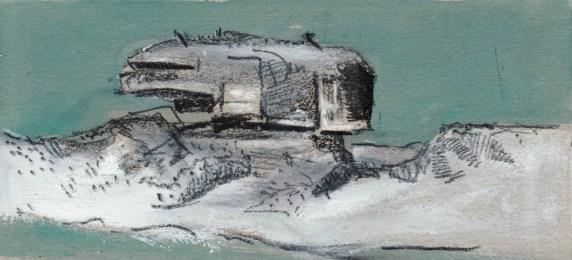 """""""Bunker"""" / 2008 / Öl und Kreide auf Karton / 10x22 cm"""